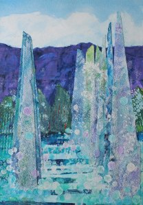 Wedding Fountains.mixed media collage.60x75cm. Christine Morgan